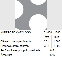 LAMINA PERFORADA BARRENOS REDONDOS E1000-1500 40% área libre