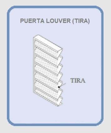 PUERTA LOUVER (TIRA) MODELOS RECTA J Z V INVERTIDA y Z a 90° DIAGRAMA