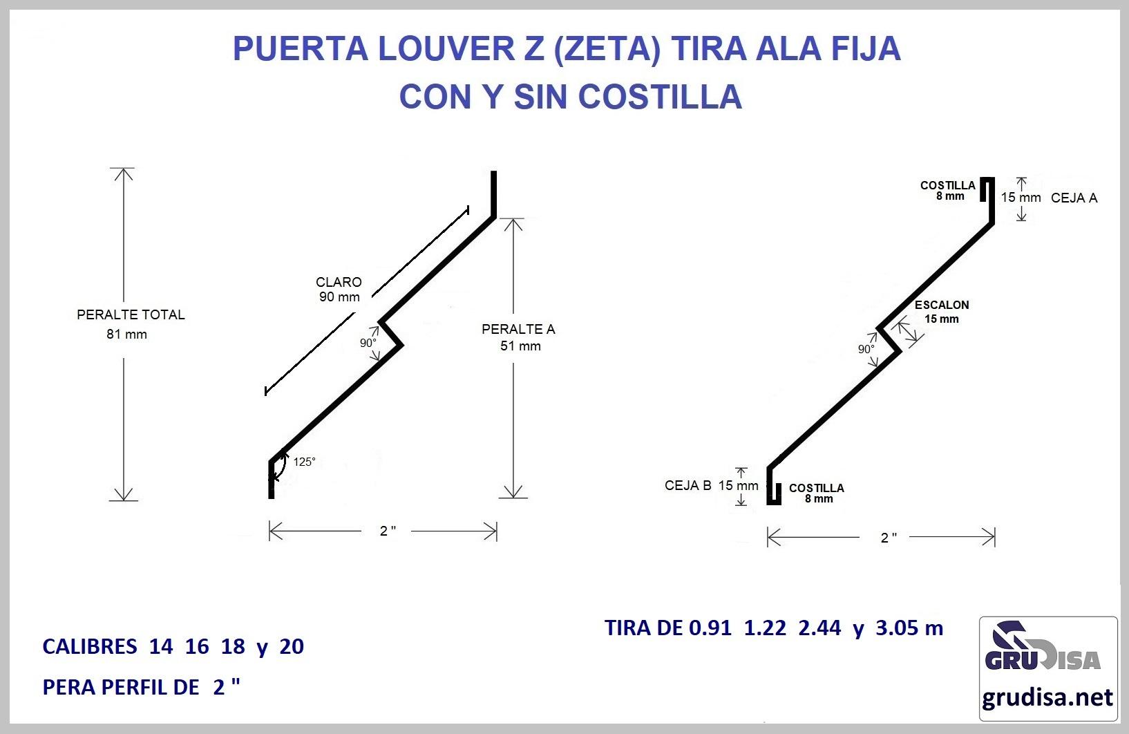 "PUERTA LOUVER Z (TIRA) PERFIL DE 2"""