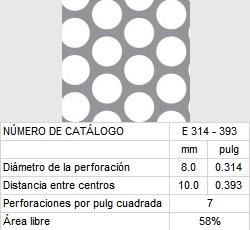 LAMINA PERFORADA BARRENOS REDONDOS E314-393 58% área libre