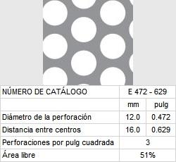 LAMINA PERFORADA BARRENOS REDONDOS E472-629 51% área libre