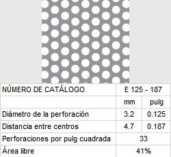 LAMINA PERFORADA BARRENOS REDONDOS E125-187 41% área libre