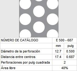 LAMINA PERFORADA BARRENOS REDONDOS E500-687 48% área libre