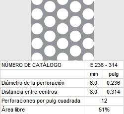 LAMINA PERFORADA BARRENOS REDONDOS E236-314 51% área libre