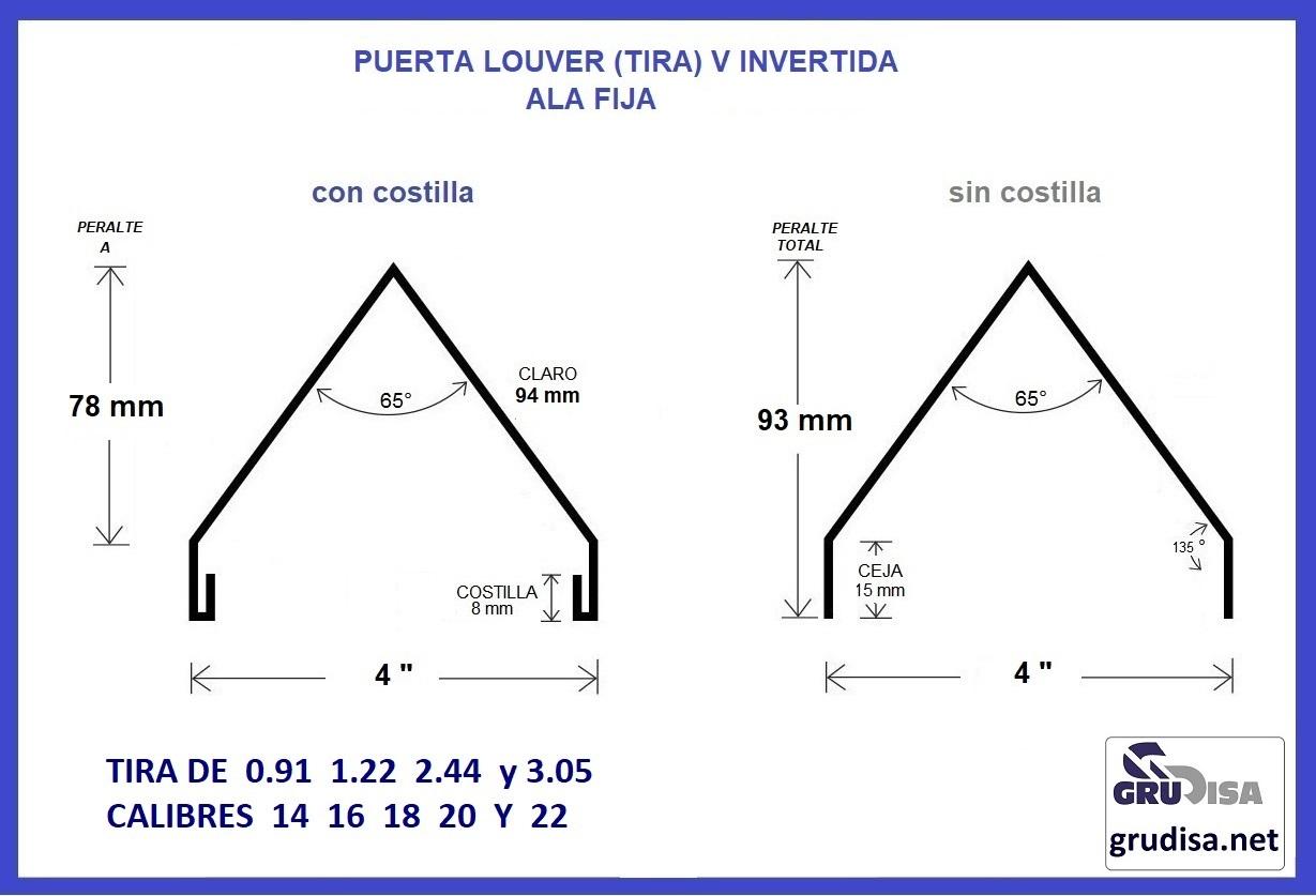 """PUERTA LOUVER (TIRA DE ALA FIJA) V INVERTIDA PARA ARMAR CON PERFILES DE 4"""" TIRAS DE  0.91  1.22  2.22 y  3.05 m  CON o SIN COSTILLA"""