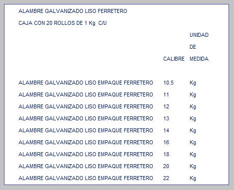 ALAMBRE GALVANIZADO LISO EN EMPAQUE FERRETERO TABLA DE ESPECIFICACIONES