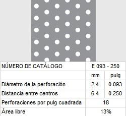 LAMINA PERFORADA BARRENOS REDONDOS E093-250 13% área libre