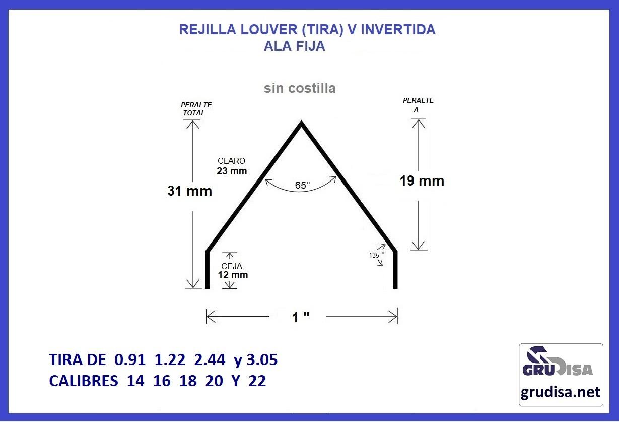 """REJILLA LOUVER (TIRA) V INVERTIDA SIN COSTILLA PARA PERFIL DE 1"""""""