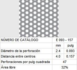 LAMINA PERFORADA BARRENOS REDONDOS E093-157 32% área libre