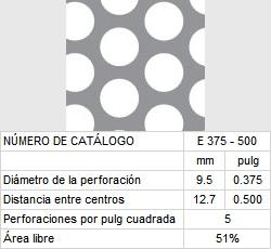 LAMINA PERFORADA BARRENOS REDONDOS E375-500 51% área libre