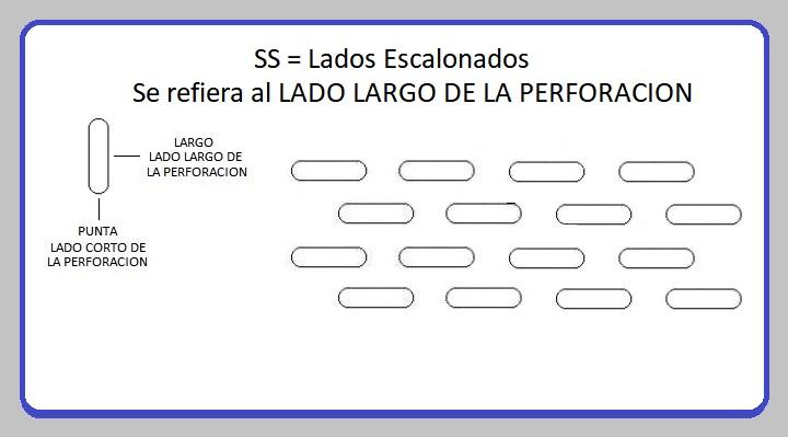 LAMINA PERFORADA BARRENOS OBLONGOS SS LADOS ESCALONADOS