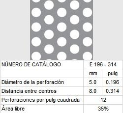 LAMINA PERFORADA BARRENOS REDONDOS E196-314 35% área libre