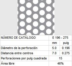 LAMINA PERFORADA BARRENOS REDONDOS E196-275 46% área libre