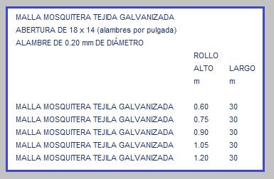 MALLA MOSQUITERA TEJIDA DE ALAMBRE GALVANIZADO TABLA DE MEDIDAS