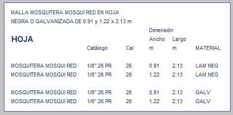 MALLA MOSQUITERA MOSQUI RED EN HOJA TABLA DE MEDIDAS
