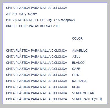 CINTA PLÁSTICA PVC PARA MALLA CICLÓNICA TABLA DE ESPECIFICACIONES