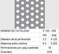 LAMINA PERFORADA BARRENOS REDONDOS E125-250 23% área libre