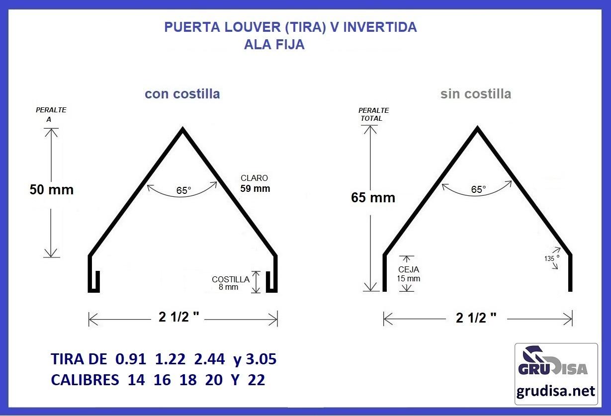 """PUERTA LOUVER (TIRA DE ALA FIJA) V INVERTIDA PARA ARMAR CON PERFILES DE 2 1/2"""" CON o SIN COSTILLA"""