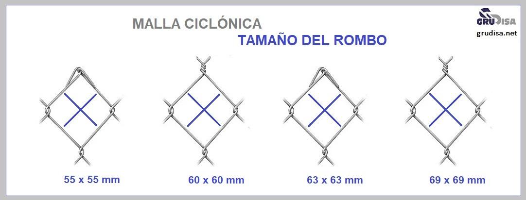 MALLA CICLÓNICA (CICLÓN) TAMAÑO DEL ROMBO