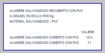 ALAMBRE GALVANIZADO CUBIERTO CON PVC TABLA DE MEDIDAS