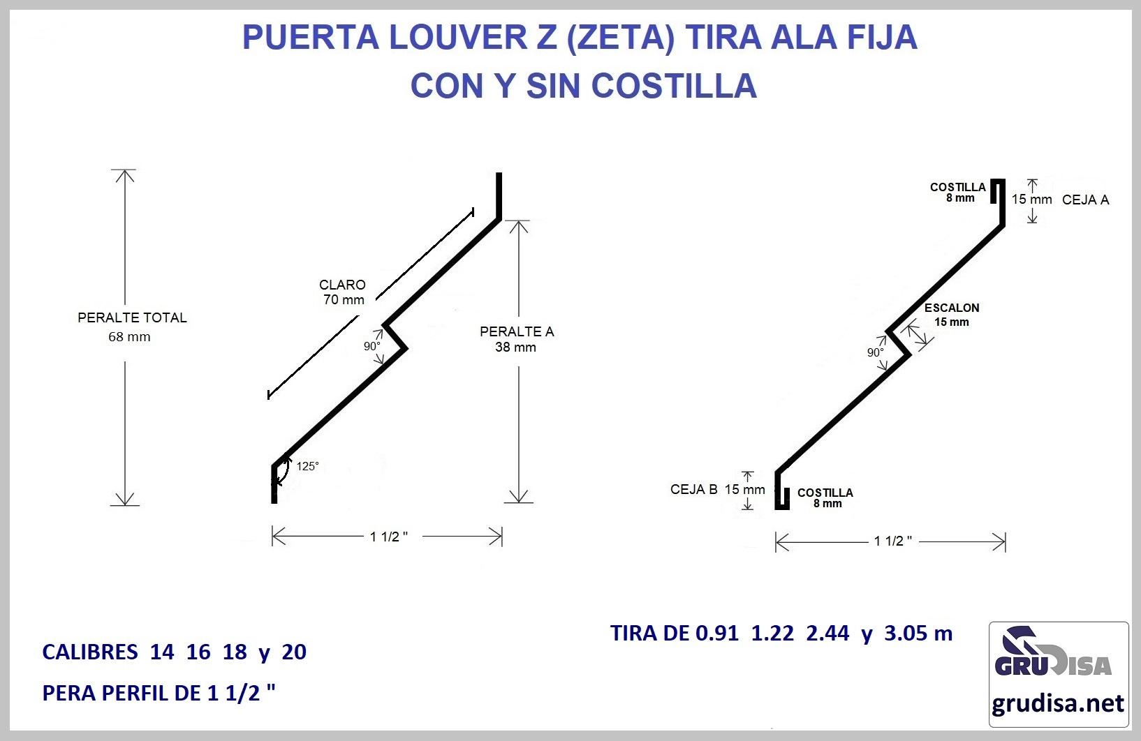 """PUERTA LOUVER Z (TIRA) PERFIL DE 1 1/2""""  CALIBRES  13 15 18 y 20"""