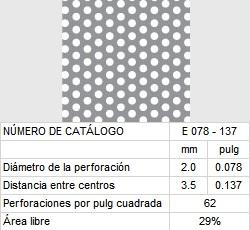 LAMINA PERFORADA BARRENOS REDONDOS E078-137 29% área libre