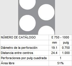 LAMINA PERFORADA BARRENOS REDONDOS E750-1000 51% área libre