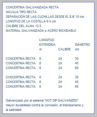 CONCERTINA GALVANIZADA RECTA ESPECIFICACIONES