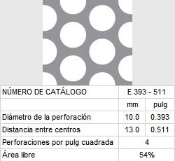 LAMINA PERFORADA BARRENOS REDONDOS E393-511 54% área libre