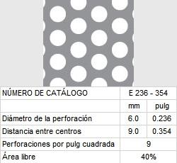 LAMINA PERFORADA BARRENOS REDONDOS E236-354 40% área libre