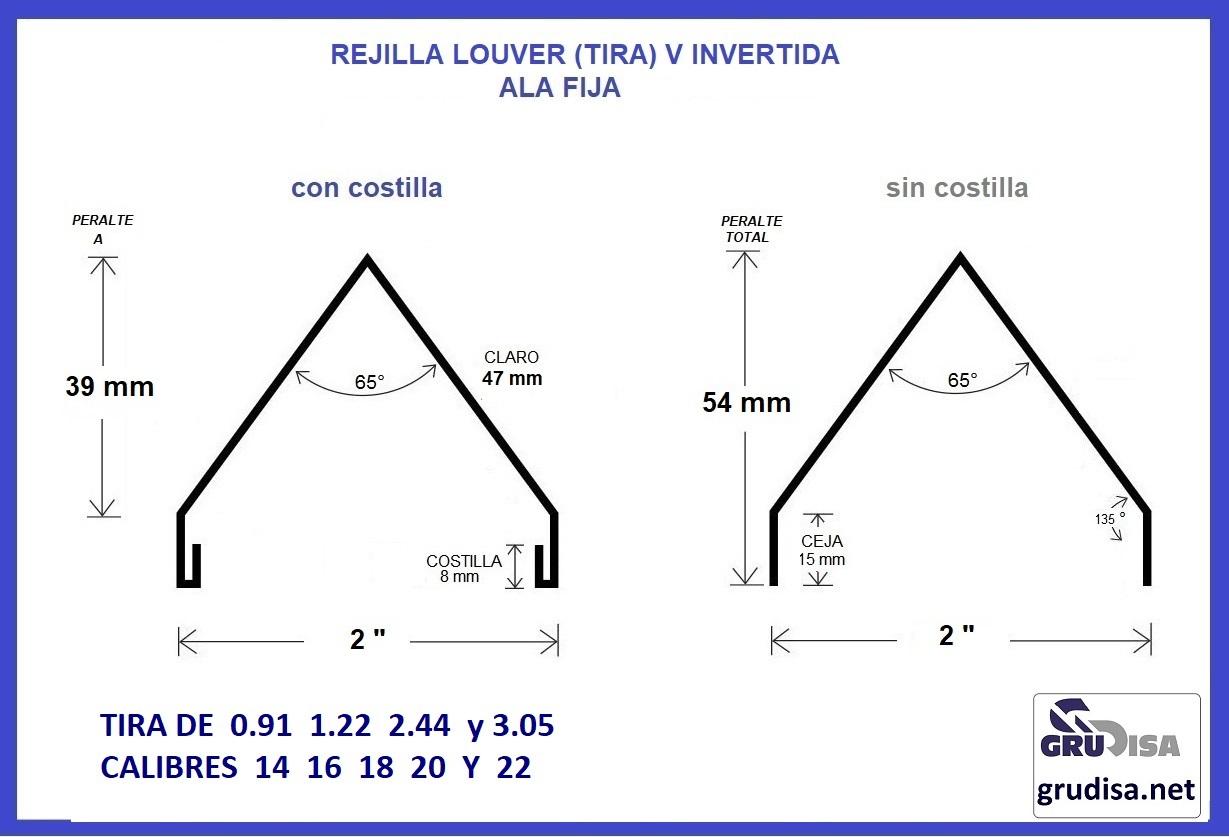 """REJILLA LOUVER (TIRA) V INVERTIDA CON Y SIN COSTILLA PARA PERFIL DE 2"""""""