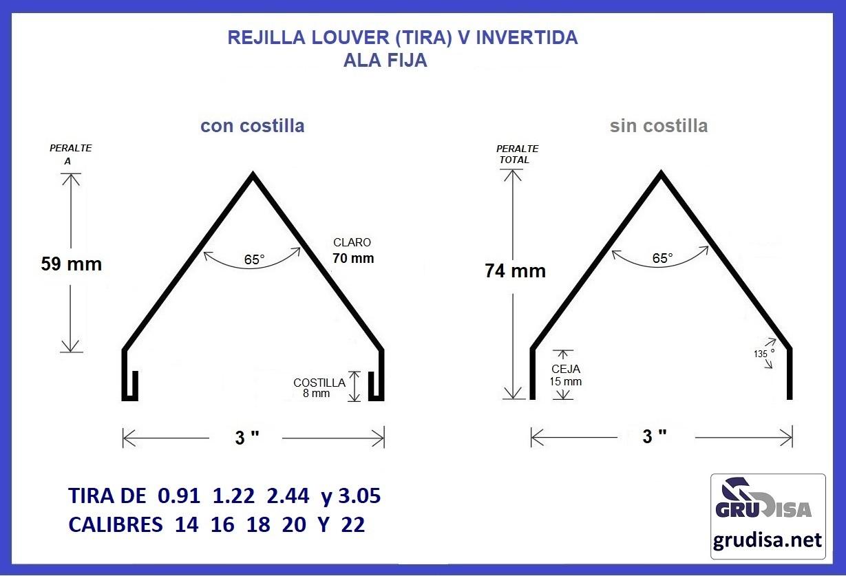 """REJILLA LOUVER (TIRA) V INVERTIDA CON Y SIN COSTILLA PARA PERFIL DE 3"""""""