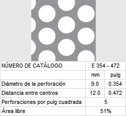 LAMINA PERFORADA BARRENOS REDONDOS E354-472 51% área libre