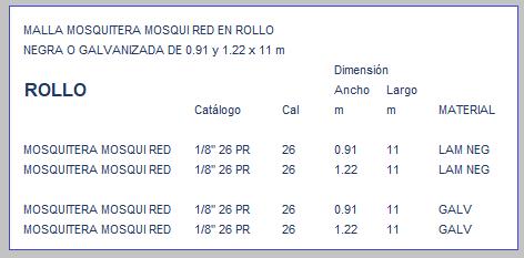 MALLA MOSQUITERA MOSQUI RED EN ROLLO TABLA DE MEDIDAS