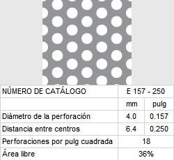 LAMINA PERFORADA BARRENOS REDONDOS E157-250 36% área libre