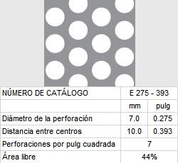 LAMINA PERFORADA BARRENOS REDONDOS E275-393 44% área libre