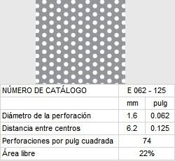 LAMINA PERFORADA BARRENOS REDONDOS E062-125 22% área libre