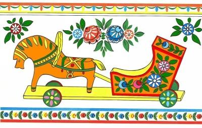 городецкая роспись конь