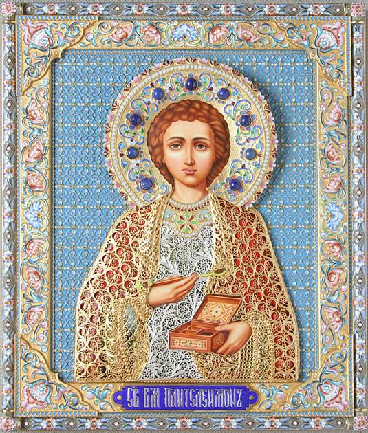Великомученик и целитель Пантелеимон. Иконы в эмалевых окладах.