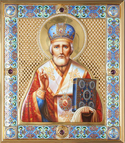 Святитель Николай Чудотворец. Иконы в эмалевых окладах.