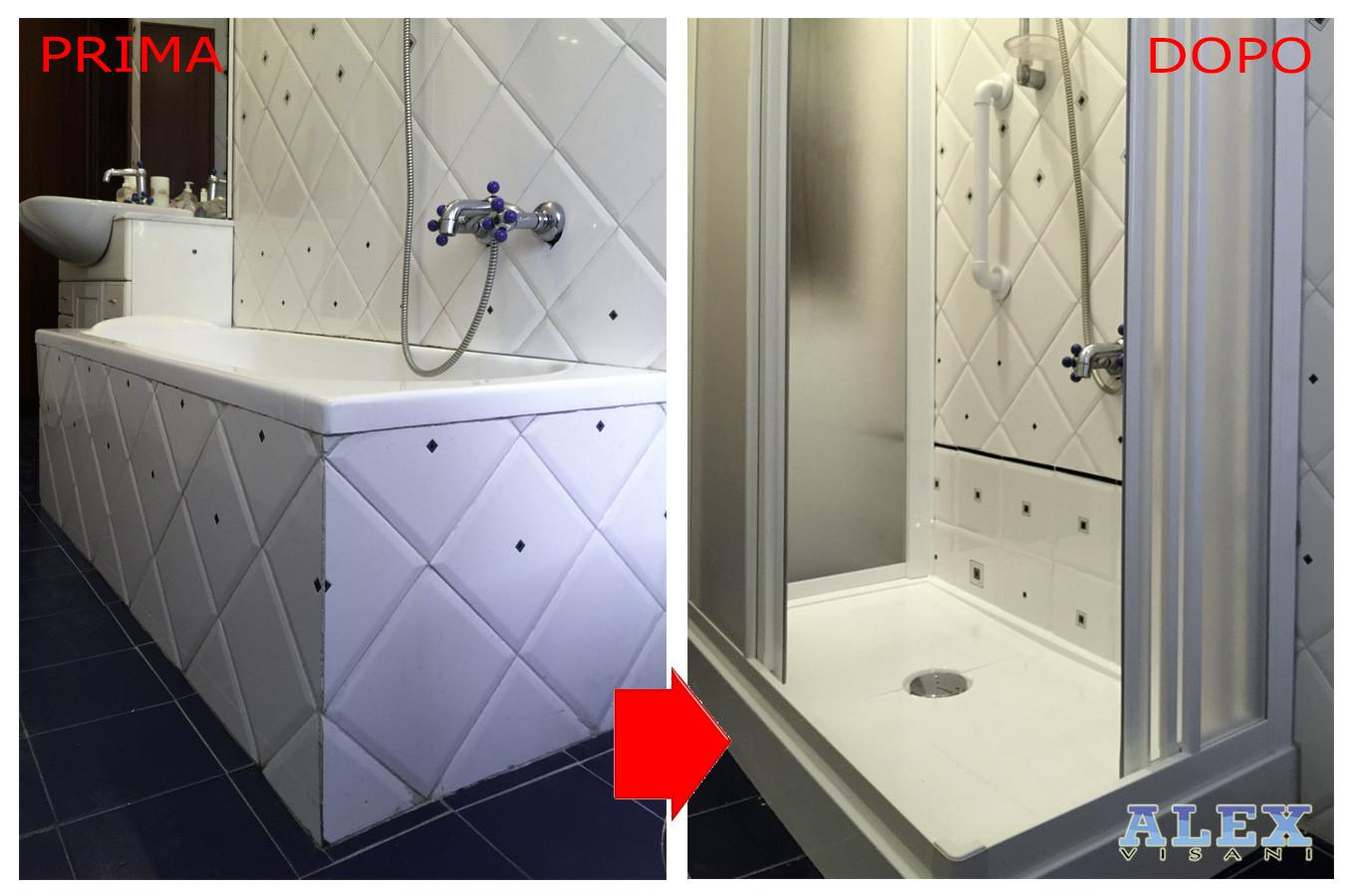 Cambio vasca con doccia a prato soluzione standard con box in aluminio alex vasche firenze - Cambio vasca da bagno ...
