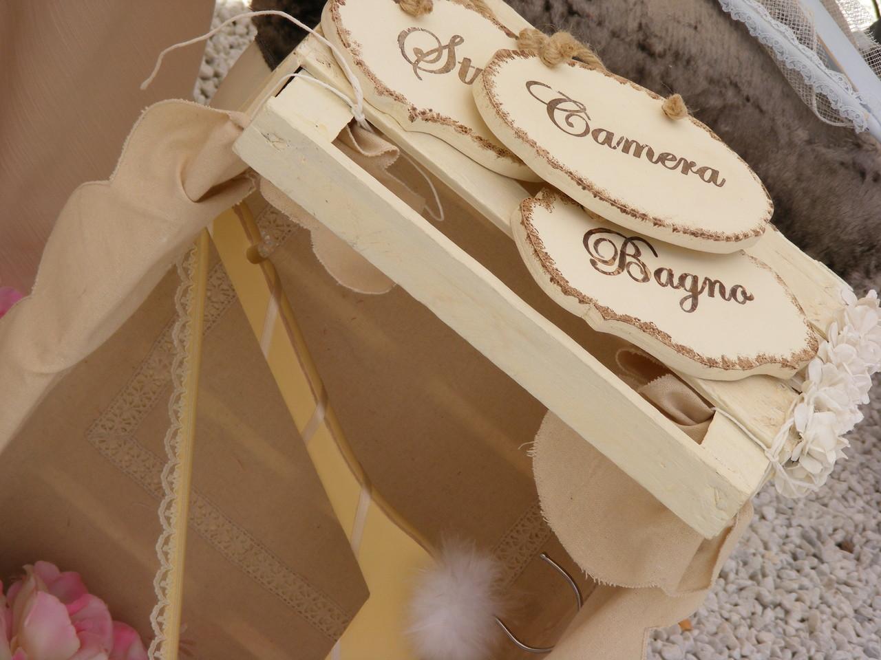 Targhette segna-porta Gruccia decorata Cassetta porta-coni di riso