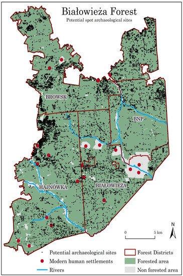 Carte des enregistrements archéologiques potentiels - vestiges anthropiques - identifiés à l'aide des données Lidar