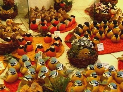 Die bunte Vogelschaar zu Weihnachtsausstellung.