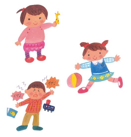 1歳(女児)2歳(男児)3歳(女児)の描き分け(うまく出来たかな?)