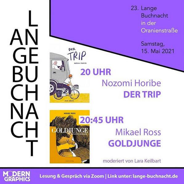 Comiclesungen bei der Langen Buchnacht (digital) in der Oranienstraße am 15.1.