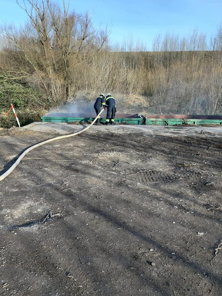 Brand eines Grünschnittcontainers