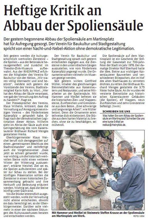 Verein für Baukultur und Stadtgestaltung Kaiserslautern e. V. - Rheinpfalzartikel Spoliensäule