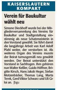 Verein für Baukultur und Stadtgestaltung Kaiserslautern e. V. - Vorstandswahlen