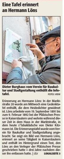 Verein für Baukultur und Stadtgestaltung Kaiserslautern e. V. - Infotafel - Löns